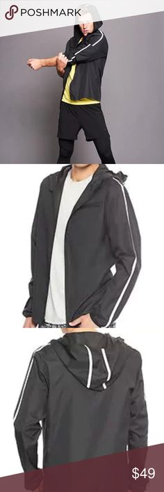 BUY1GET1FREE  GapFit Ripstop Jacket NWT Ripstop weave. Reflective details provide additional visibility.Long sleeves with elasticized cuffs. Hood.Zip front. Zip welt pocket at chest. Locker loop at interior neckline. Gap Jackets & Coats Performance Jackets