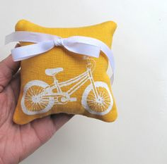 Ring Bearer Pillow Wedding Bicycle 4 x 4 inches on Mustard Yellow Linen on Etsy, $16.00