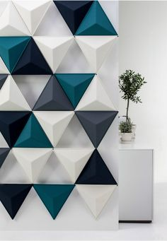 Textured Triangle Wall Panels, idea for acoustic panels Interior Walls, Interior Design, Interior Architecture, Triangle Wall, Triangle Pattern, 3d Wall Panels, Acoustic Wall Panels, Plastic Wall Panels, Decorative Wall Panels