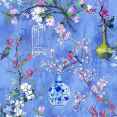 Istoriato Cobalt Fabric | Designers Guild