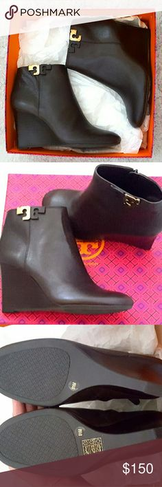 "Tory Burch Lowell Wedge Bootie 45mm Tory Burch Lowell Wedge Bootie 45mm Color: Coconut Details: Tory Burch tumbled leather ankle bootie. 3.3"" stacked wedge heel. Round toe. Two-tone logo detail. Side zip eases dress. Rubber outsole. Comes with Tory Burch dust bag. Tory Burch Shoes Ankle Boots & Booties"