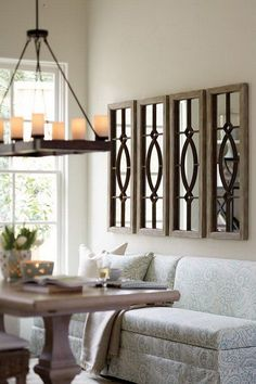 Multiple Transom Mirrors for Living Room Decoration - could put them on top of doors, too