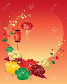 An Illustration Of A Chinese New Year Greeting Card With Red.. Royalty Free Cliparts, Vectors, And Stock Illustration. Image 24157115.