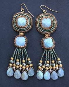 ~~Square Labradorite Fringe Earrings by Faria Siddiqui~~