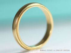 SEE MORE ON http://www.hawaiijewelrybuyers.com/  #TIFFANY&CO AUTHENTIC TIFFANY & CO 18K YELLOW GOLD 3MM MILGRAIN WEDDING BAND RING (SZ 9) #TiffanyCo #Band