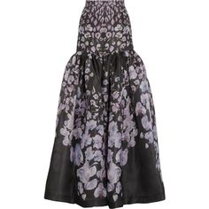 Temperley London Orchidea printed silk-gazar maxi skirt ($797) ❤ liked on Polyvore featuring skirts, black, multi color maxi skirt, multi colored maxi skirt, long colorful maxi skirts, ruched skirt and long floral maxi skirt