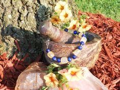 Lapis Lazuli and Golden Rutilated Quartz Bracelet by LunasMagicks on Etsy