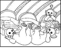 teletubbies joking coloring picture for kids