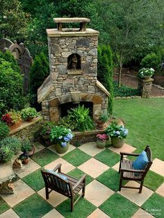 28 Garden Pathway Ideas: outdoor fireplace picture