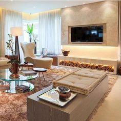 Tons e texturas para quem ama um ambiente aconchegante! ❤️ Belíssimo projeto Chris Silveira