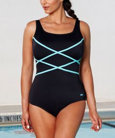 Love this Black & Mint Aquabelle Crisscross One-Piece - Plus Too on #zulily! #zulilyfinds
