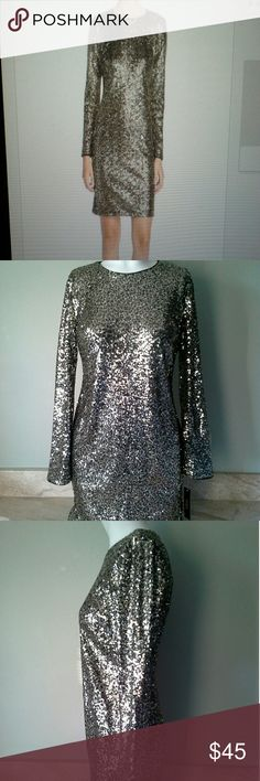 Mby Maia Womens Long Sleeve Sequin Dress size 2 Brand New Sequin Gold Dress Size 2 Dresses Mini