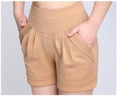 Plus Size 4XL Summer Casual High Waist Women Shorts Candy Color Elastic Waist Pocket Casual Large Loose Harem Hot Short Pants