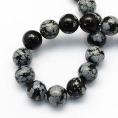 Natural Snowflake Obsidian Round Gemstones
