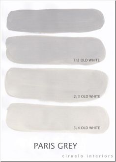 | P | Paris Grey http://www.playingsublimely.com/2012/02/mixing-chalk-paint-colors-to-extend-your-palette/