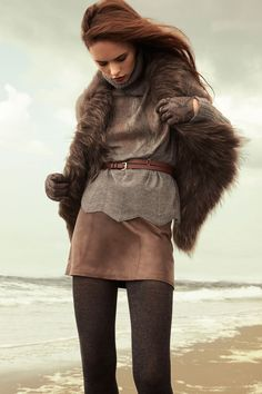 Fur vest - It can either hang open in a cool drape, or it can fasten asymmetrically with a foldover collar.