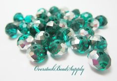 20 Emerald Green and Silver Rondelles Glass Beads Spacer Beads 8mm 3973 by OverstockBeadSupply on Etsy