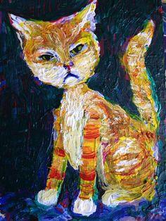 """1000 CATS # 985"" Acrylic original  ,ACEO  jack larson 3.5""x2.5""  #Abstract"
