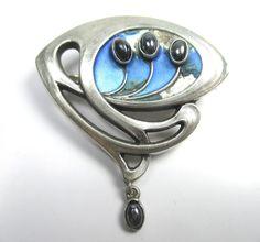 Jugendstil Brosche 800 Silber Emaille Hämatit um1900 Boheme silver brooch rN3