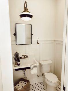 Downstairs Bathroom, Bathroom Renos, Bathroom Interior, Master Bathrooms, Tiny Bathrooms, Wainscoting Bathroom, 1920s Bathroom, Farmhouse Bathroom Sink, Bathroom Mirrors