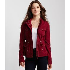 Aeropostale Solid Hooded Parka (60 CAD) ❤ liked on Polyvore featuring outerwear, coats, island flower, aeropostale coats, red hooded coat, red parka, cotton parka en parka coat