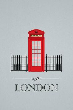 """""""London Phone Booth"""" by Luis Infante: The design features a fun mix between Architecture and Graphic Design. A whimsical take on the city of London. The red telephone booth is a landmark of London. Framed Wall Art, Wall Art Prints, Framed Prints, Canvas Prints, London Phone Booth, London Telephone Booth, Thinking Day, London Calling, London City"""