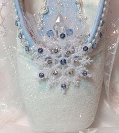 Snow Queen/ Snowflake decorated pointe shoe in blue and white. Nutcracker Ballet. Ready to Ship.
