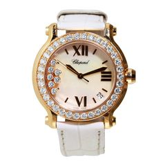 Chopard Lady's Rose Gold and Diamond Happy Sport Wristwatch with Date | From a unique collection of vintage wrist watches at https://www.1stdibs.com/jewelry/watches/wrist-watches/