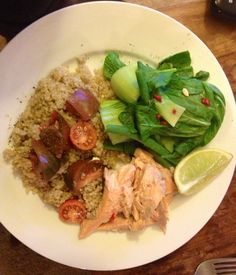 Dinner tonight: Baked #rainbow #trout with #quinoa and steamed #greens with #chilli. Light and delicious.