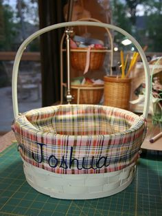 how to make a basket liner--best tutorial! I made these for my bf family! My baskets were tapered so I gathered the side fabric a little to fit it to the bottom.