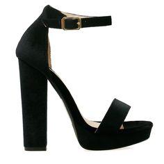 c2f4fd2229d Lovato Black Velvet Style Platform Ankle Strap Chunky Heels Black Chunky  Platform Heels