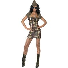 The Adult Fever Major Trouble Costume includes a short camouflage dress with gold stars and gold ribbon detailing. Also included is a green shrug and a matching green army hat. Army Fancy Dress, Adult Fancy Dress, Shrug For Dresses, Sexy Dresses, Cool Costumes, Adult Costumes, Costume Ideas, Role Play Outfits, Nascar Costume