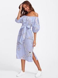 72b066a14f2 Self Tie Floral And Striped Bardot Dress  boho  bohostyle  bohoclothing   gipsyfashion