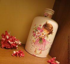 Декор бутылок - ваза,бутылка,Декупаж,ленты,стразы,стекло,бутылка,ваза
