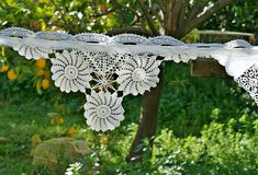 Wedding Banner, Wedding Bunting Doily, Boho Wedding Decor, Shabby Chic Wedding Garland Backdrop, Bridal Shower Decor, Party Bunting Banner This lovely bunting banner garland would make a great decoration for a country, vintage, bohemian or shabby chic style wedding, bridal