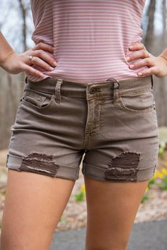 Perfectly Worn Shorts  Vendor: Athena AttireType: ShortsPrice: 36.00  These destroyed mocha jean shorts are the perfect laid back look this summer!  Model wears a small.  Small fits 0-2.  Medium fits 4-6.  Large fits 8-10.