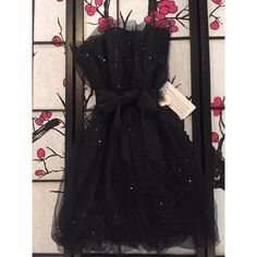 Black Sparkle Vera Wang Tulle Dress Measurements - Bust 14in / Length 28in Vera Wang Dresses Strapless