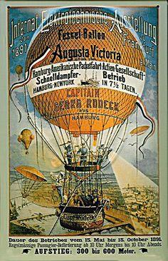Reklame für die HAPAG auf dem Fesselballon, der 1891 als Attraktion zur Elektrotechnischen Ausstellung in Frankfurt diente.