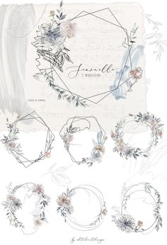 Sensuelle Pink Gray Blue Watercolor Floral Wreaths Geometric Frames Flowers Peonies Clipart Set Wedding Clip Art Hand Painted PNG Graphics Source by dchaveztrigo Floral Wreath Watercolor, Watercolor Flowers, Watercolor Art, Watercolor Wedding, Watercolor Dreamcatcher, Wedding Painting, Painting Flowers, Vintage Illustration, Watercolor Illustration
