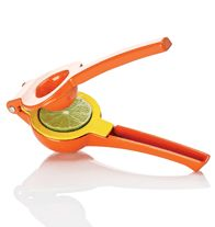 "AVON - Dual Citrus Squeezer Squeeze lemons, limes or small oranges with this helpful gadget. Hand wash. 8 2/3"" L x 3"" W x 2"" H. Aluminum. Imported."