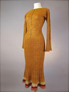 Orange knit dress, 1930's.