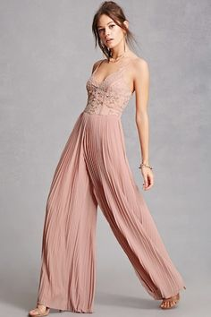 A semi-sheer jumpsuit featuring a lace bodice, V-neckline, cami straps, an exposed back zipper, and accordion pleated wide leg pants.<p>- This is an independent brand and not a Forever 21 branded item.</p>