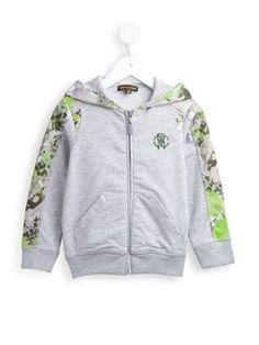 leopard mesh panel hoodie