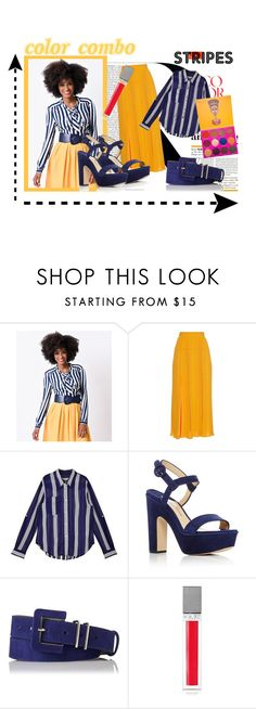 """""""Navy & Peach"""" by artemisgrigorova ❤ liked on Polyvore featuring Ultimate, Hell Bunny, Sonia Rykiel, Paul Andrew, L.K.Bennett, Sisley, peach, stripes and colorchallenge"""