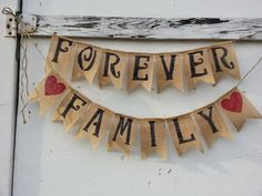 adoption burlap banner forever family banner, happy gotcha day, adoption day, country family photo prop burlap bunting, welcome home baby on Etsy, $32.00