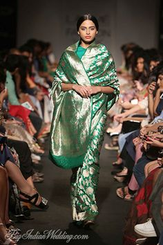 From Lakme Fashion Week Winter Festive 2014 edition. Beautiful sarees in luxurious fabrics by Sanjay Garg - we loved them! India Fashion Week, Lakme Fashion Week, Banarsi Saree, Benarasi Dupatta, Handloom Saree, Modern Saree, Saree Dress, Patiala Dress, Trendy Sarees