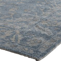 Lubois French Country Antique Blue Wool Rug - 8x10 | Kathy Kuo Home