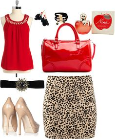 red and animal print outfit, created by mylycita on Polyvore