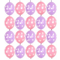 20X Pink Purple Link o loon Polka dots linking balloon birthday Party Decoration #Sempertex #BirthdayChild