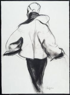 Drawing: Topper with dolman sleeves. Antonio Lopez illustrates Charles James. Chicago History Museum,  Costume and Textile Collection  1974.305.21d